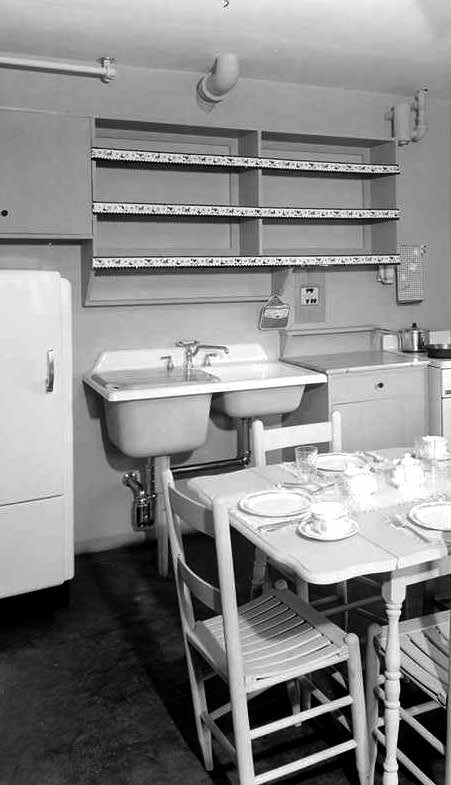 A kitchen at Halifax Court circa 1940